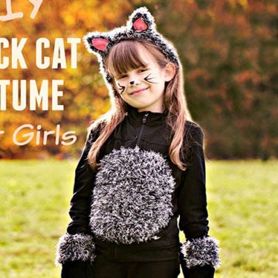 DIY Black cat Halloween costume for kids