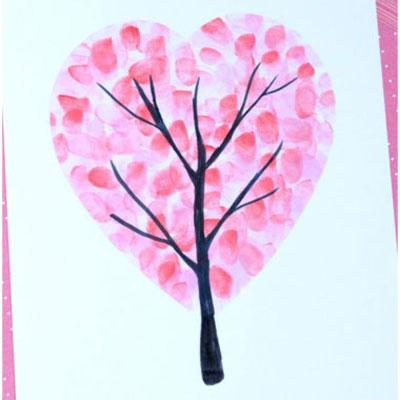 Valentine's day heart fingerprint tree - easy craft for kids