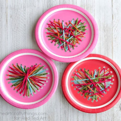 Paper plate yarn hearts - Valentine's day craft for kids
