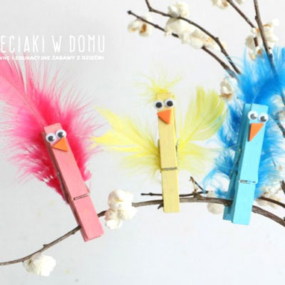 Feathered clothespin birds - fun spring craft for kids
