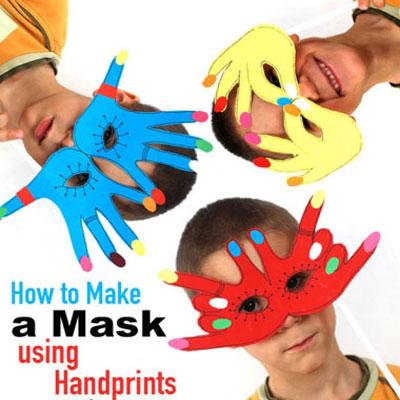 Simple handprint paper masks - fun kids craft idea