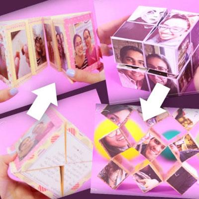 2 different magical folding photo cube - fun handmade gift