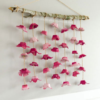 DIY boho flower wall hanging from egg cartons