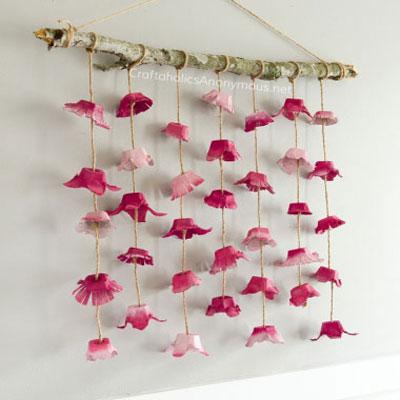 DIY boho flower wall hanging from egg cartons