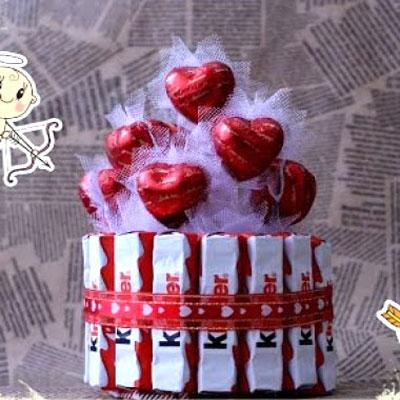 DIY chocholate & bonbon heart cake - romantic gift