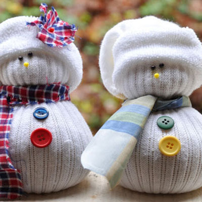 Adorable sock snowman
