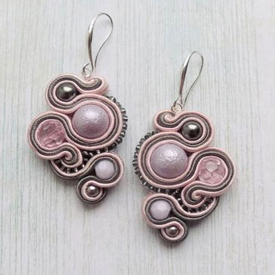 Handmade soutache jewelry - purple string earring with beads