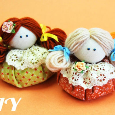 DIY Easy fabric dolls with yarn hair