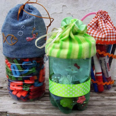 Drawstring bag from plastic bottles - recycling & organizing