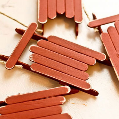 Christmas sled ornament from popsicle sticks