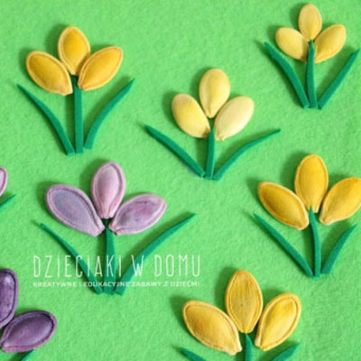 DIY Spring pumpkin seed flower card - kid craft idea