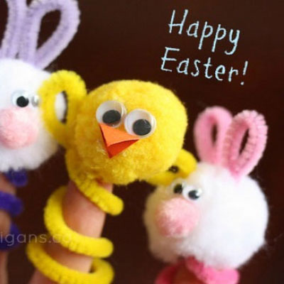 Easy Easter finger puppets for kids (bunny and chick)