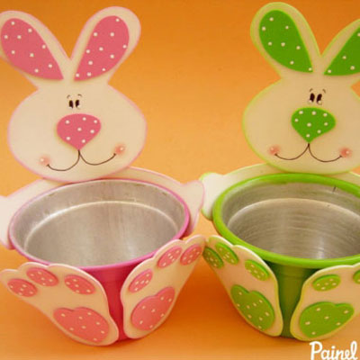 Easter bunny pots with craft foam (free template)