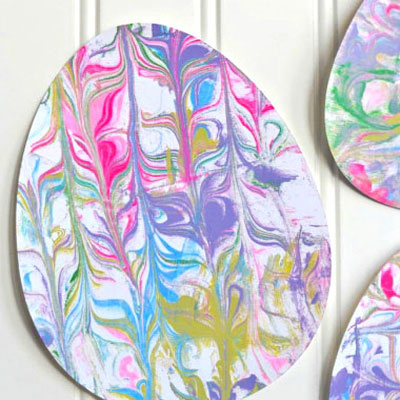 Shaving cream paper marbling - Easter egg craft