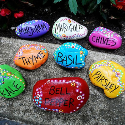 DIY Painted rock garden markers