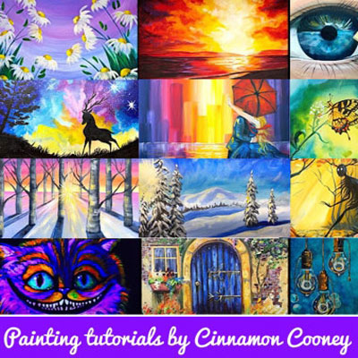 Step-by-step painting tutorials by Cinnamon Cooney