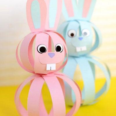 Simple paper strip sphere bunnies - Easter kids' craft