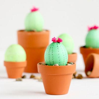 DIY cactus Easter eggs - fun Easter egg painting idea
