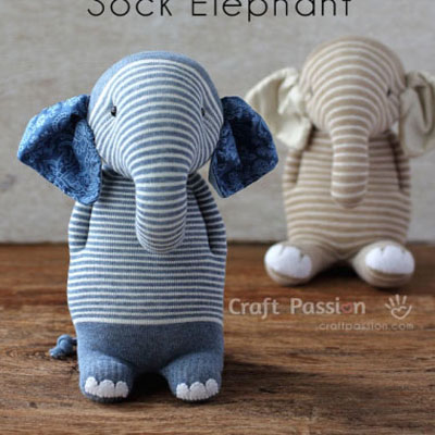 DIY Sock elephant soft toy - upcycling craft idea
