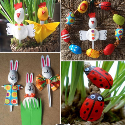 Plastic spoon bunny,chick,ladybug & wreath - Easter crafts