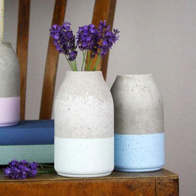 DIY concrete vase with plastic yogurt bottle - modern home decor idea