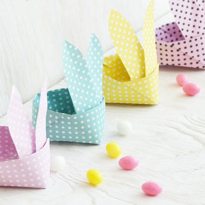 Origami Easter bunny baskets (paper folding)