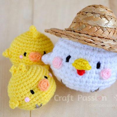 Hen and chick amigurumi ( free crochet pattern )