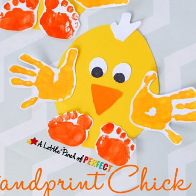 Handprint chick - easy Easter craft for kids