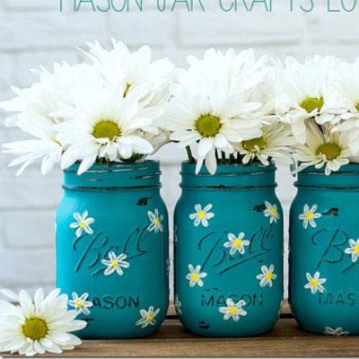 DIY Painted spring daisy mason jar vase - recycling craft