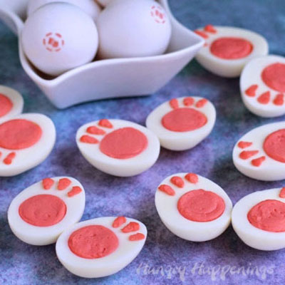 Deviled bunny egg feet - fun Easter appetizer