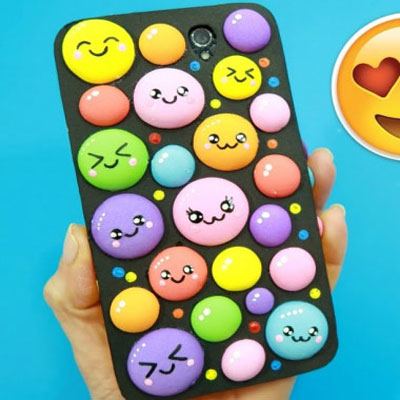 DIY Adorable (kawaii) bubbly mobile phone case with craft foam