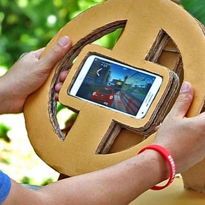 DIY Mobile race gaming steering wheel from cardboard