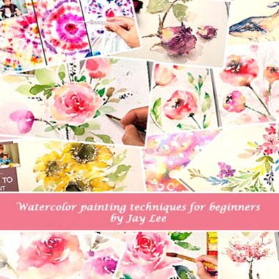 Spring flowers - beginner watercolor painting tutorials by Jay Lee