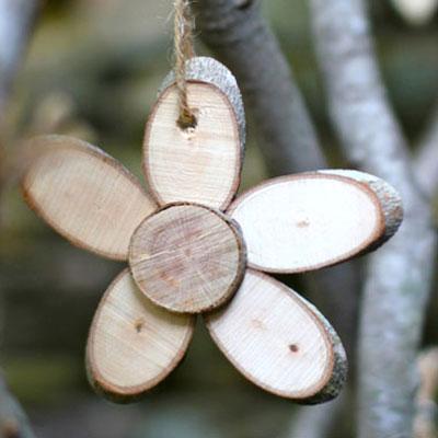 DIY Wood slice flower - easy natural spring decor