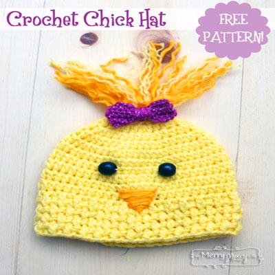 Cute crochet chicken hat with yarn hair (free crochet pattern)