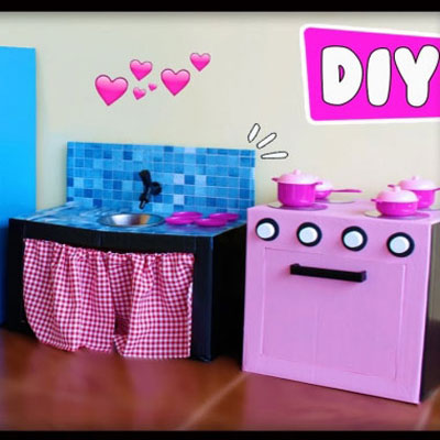 DIY play kitchen for kids with cardboard boxes