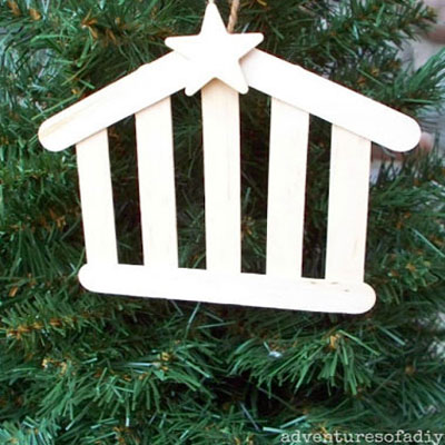 Stable christmas ornaments from popsicle sticks