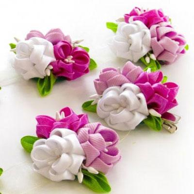 Gorgeous DIY spring ribbon flower headband - kanzashi