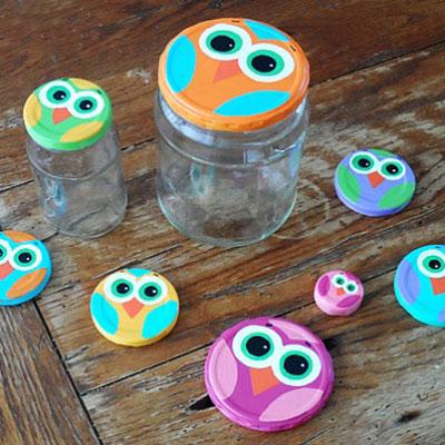 DIY Fun mason jar lid owls - recycling craft for kids