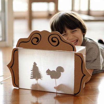 DIY Shadow theater from a cardboard box - recycling kids craft