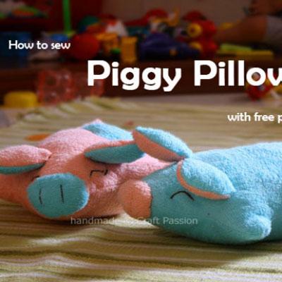 DIY Adorable piggy pillow (free sewing pattern)