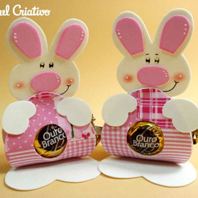 DIY Easter treats - bonbon holder bunnies from craft foam