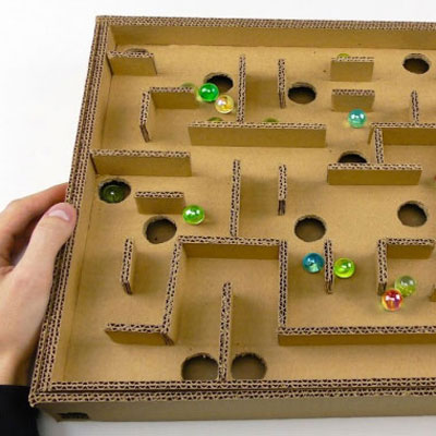 DIY Board game marble labyrinth from cardboard