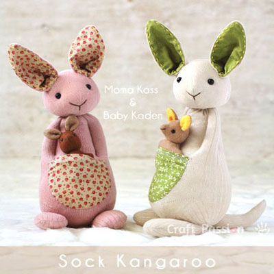 DIY Sock kangaroo - soft toy for kids (free sewing pattern)