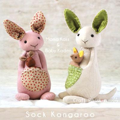 DIY Sock kangaroo - soft toy for kids (free sewing pattern)