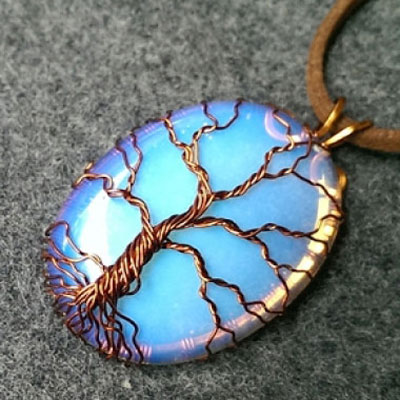Tree of life pendant with a big stone - wire jewerly