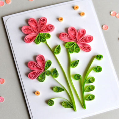 DIY Flower Mother's Day greeting card with quilling