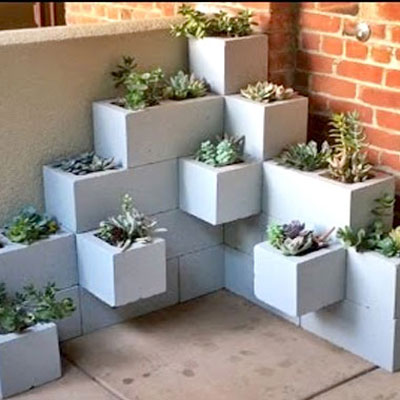 DIY easy stylish succulent planter from cinder blocks