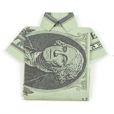 Easy DIY origami money shirt tutorial (paper folding)