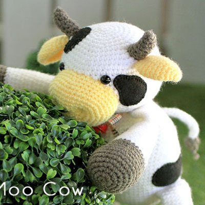 6 Super Cute Crocheted Amigurumi Cow Free Patterns | Horgolás ... | 400x400